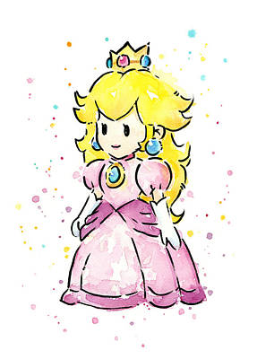 Video Game Painting - Princess Peach Watercolor by Olga Shvartsur