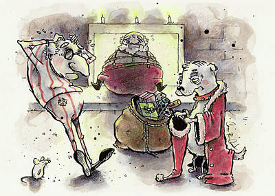 Christmas Eve Painting - Princess The Alpha Male In Santa Roasting By An Open Fire by Connor Reed Crank