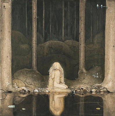 John Bauer Painting - Princess Tuvstarr Gazing Down Into The Dark Waters Of The Forest Tarn by John Bauer