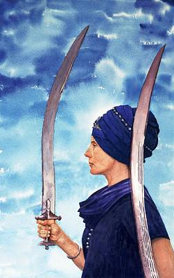 Spiritual Warrior Painting - Princess Warrior by Gurukirn Khalsa