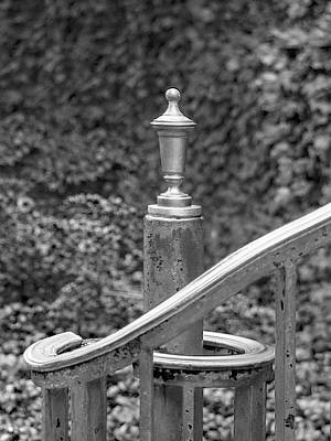 Photograph - Princeton Borough Post Office Handrail Finial Black And White by Ben and Raisa Gertsberg