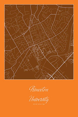 University Digital Art - Princeton Street Map - Princeton University Princeton Map by Jurq Studio