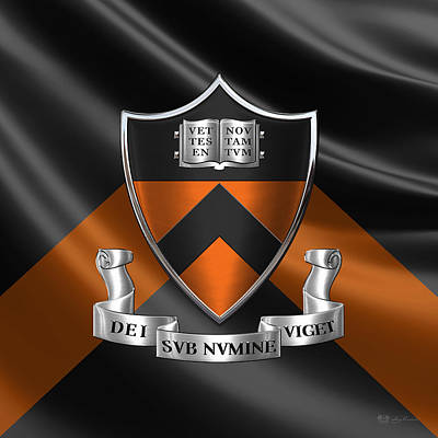 Princeton University Coat Of Arms - Crest Over University Colors Original
