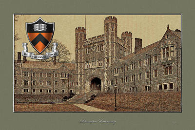 Princeton University Crest Over Blair Hall Building Original