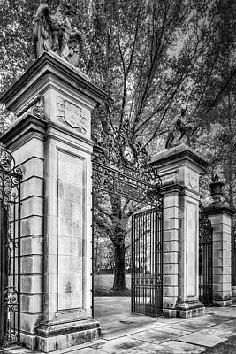 Photograph - Princeton University Main Entrance Gate Bw by Susan Candelario