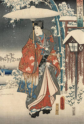 Snow Scenes Drawing - Print From The Tale Of Genji by Kunisada and Hiroshige