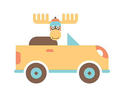 Boy Wall Art - Digital Art - Moose Road Trip by Mitch Frey