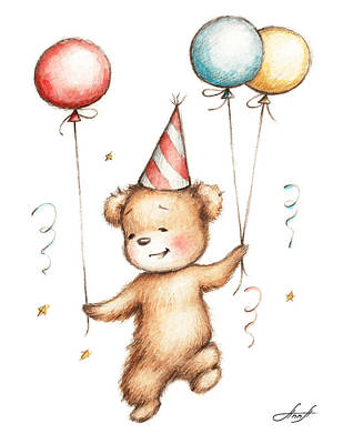 Special Occasion Drawing - Print Of Teddy Bear With Balloons by Anna Abramska
