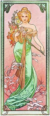 Painting - Printemps by Alphonse Mucha