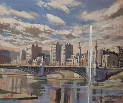 Meuse Painting - Printemps Sur Le Pont Fragnee Liege by Nop Briex
