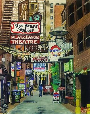 Nashville Tennessee Painting - Printer's Alley by Jamie Erwin
