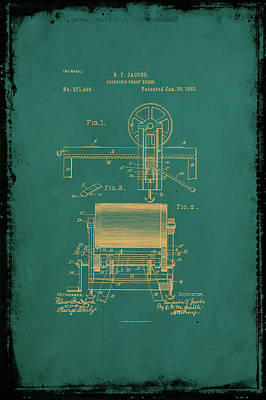 Printers Proof Press Patent Drawing 1a Art Print by Brian Reaves