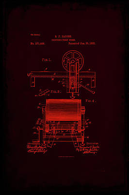 Printers Proof Press Patent Drawing 1e Art Print by Brian Reaves
