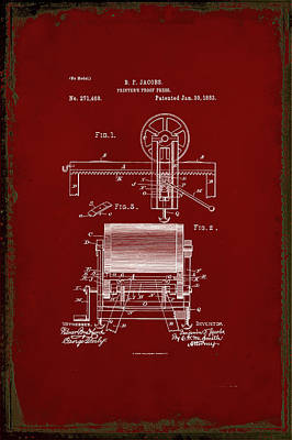 Printers Proof Press Patent Drawing 1g Art Print by Brian Reaves