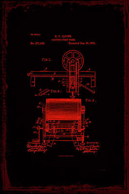 Printers Proof Press Patent Drawing 1h Art Print by Brian Reaves