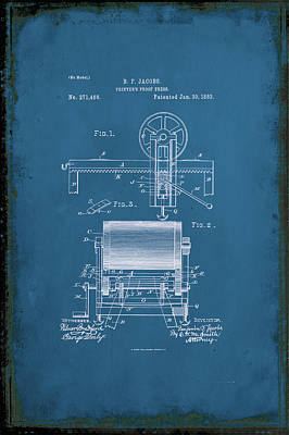 Printers Proof Press Patent Drawing 1i Art Print by Brian Reaves