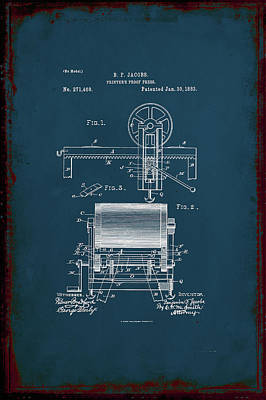 Printers Proof Press Patent Drawing 1j Art Print by Brian Reaves