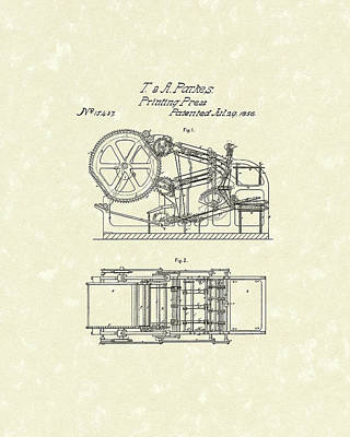 Drawing - Printing Press Parkes 1856 Patent Art by Prior Art Design