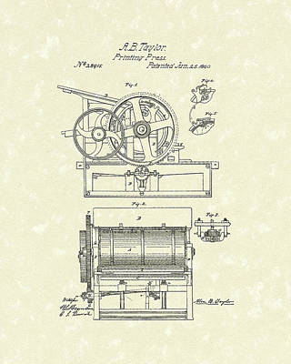 Drawing - Printing Press Taylor 1860 Patent Art by Prior Art Design