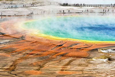 Vintage Signs - Grand Prismatic Spring by Paul Quinn