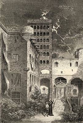 Barcelona Drawing - Prison Of The Inquisition Barcelona by Vintage Design Pics