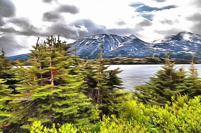 Photograph - Pristine Lake At The Gateway To The Yukon Digital Painting by Barbara Snyder