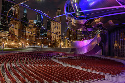 Chicago Skyline Photograph - Pritzker Pavilion At Night by Med Studio