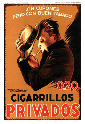 Mixed Media - Privados Cigarrillos - Cigarettes - Vintage Tobacco Advertising Poster by Achille Mauzan by Studio Grafiikka