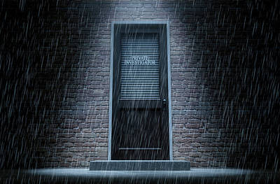 Private Eye Door Outside Rain Art Print