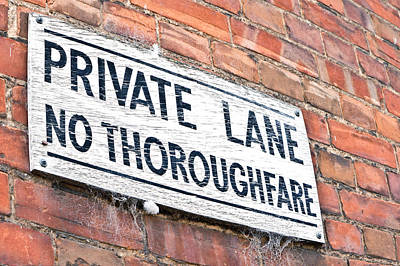 Private Lane Sign Art Print by Tom Gowanlock