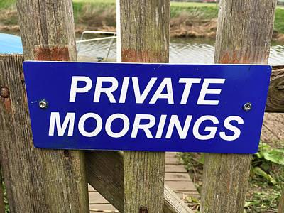Private Moorings Sign Art Print by Tom Gowanlock