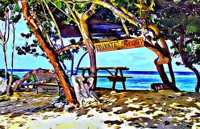 Caribbean Sea Digital Art - Private Property by Carey Chen