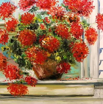 Jmwportfolio Painting - Prize Geranium by John Williams