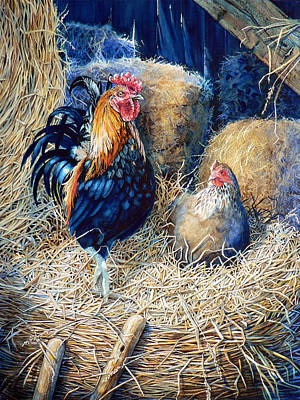 Action Portrait Painting - Prized Rooster by Hanne Lore Koehler