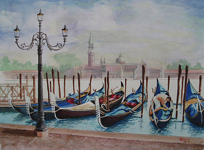Painting - Parking Gondolas In Venice by Charles Hetenyi