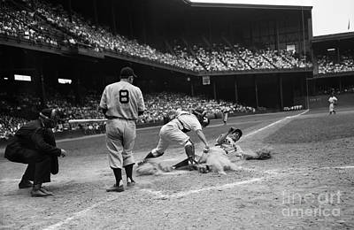 Photograph - Pro Baseball Player Sliding Into Home by H. Armstrong Roberts/ClassicStock