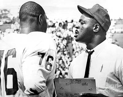 Rosy Hall Photograph - Pro Football Hall Of Famer, Rosy Brown Gives Pointers To Rookie Tackle, Don Davis. 1966 by William Jacobellis