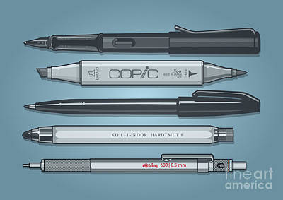Mechanical Mixed Media - Pro Pens by Monkey Crisis On Mars