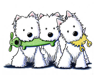 White Terrier Drawing - Pro Players by Kim Niles