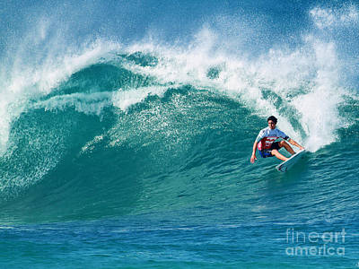 Pro Surfer Gabriel Medina Surfing In The Pipeline Masters Contes Art Print by Paul Topp