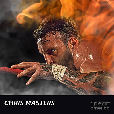Digital Art - Pro Wrestler Chris Masters Out Of The Flames  by Jim Fitzpatrick