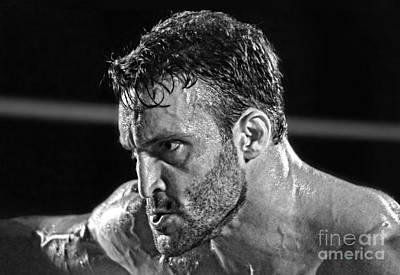 Photograph - Pro Wrestler Chris Masters Planning His Move Black And White Version II by Jim Fitzpatrick