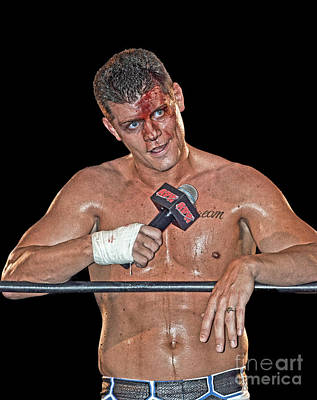 Dusty Rhodes Photograph - Pro Wrestler Cody Rhodes Issuing The Challenge by Jim Fitzpatrick