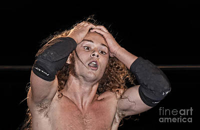 Photograph - Pro Wrestler Jungle Boy Shocked By His Opponent's Actions by Jim Fitzpatrick