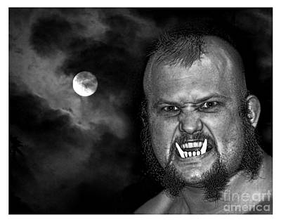 Photograph - Pro Wrestler War Pig Jody Black And White Version by Jim Fitzpatrick