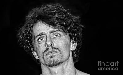 Photograph - Pro Wrestler Will Roberts Black And White Version by Jim Fitzpatrick