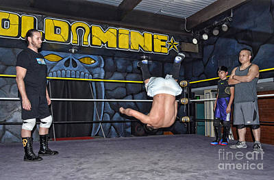 Working Cowboy Digital Art - Pro Wrestling Training At The Gold Mine IIi by Jim Fitzpatrick