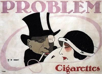 Mixed Media - Problem Cigarettes - Vintage Art Nouveau Advertising Poster By Hans Rudi Erdt by Studio Grafiikka