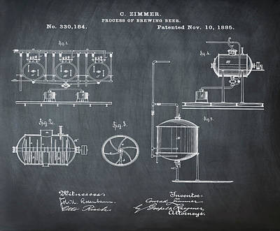 Process Of Brewing Patent 1885 In Chalk Art Print by Bill Cannon