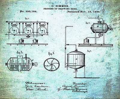 Beer Drawing - Process Of Brewing Patent 1885 In Old Style by Bill Cannon